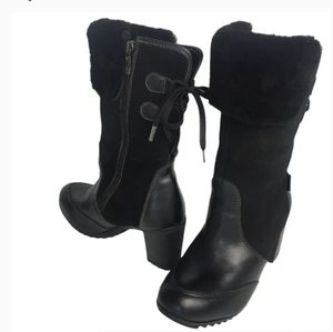 NWT Pajar blk leather & suede heel winter boots